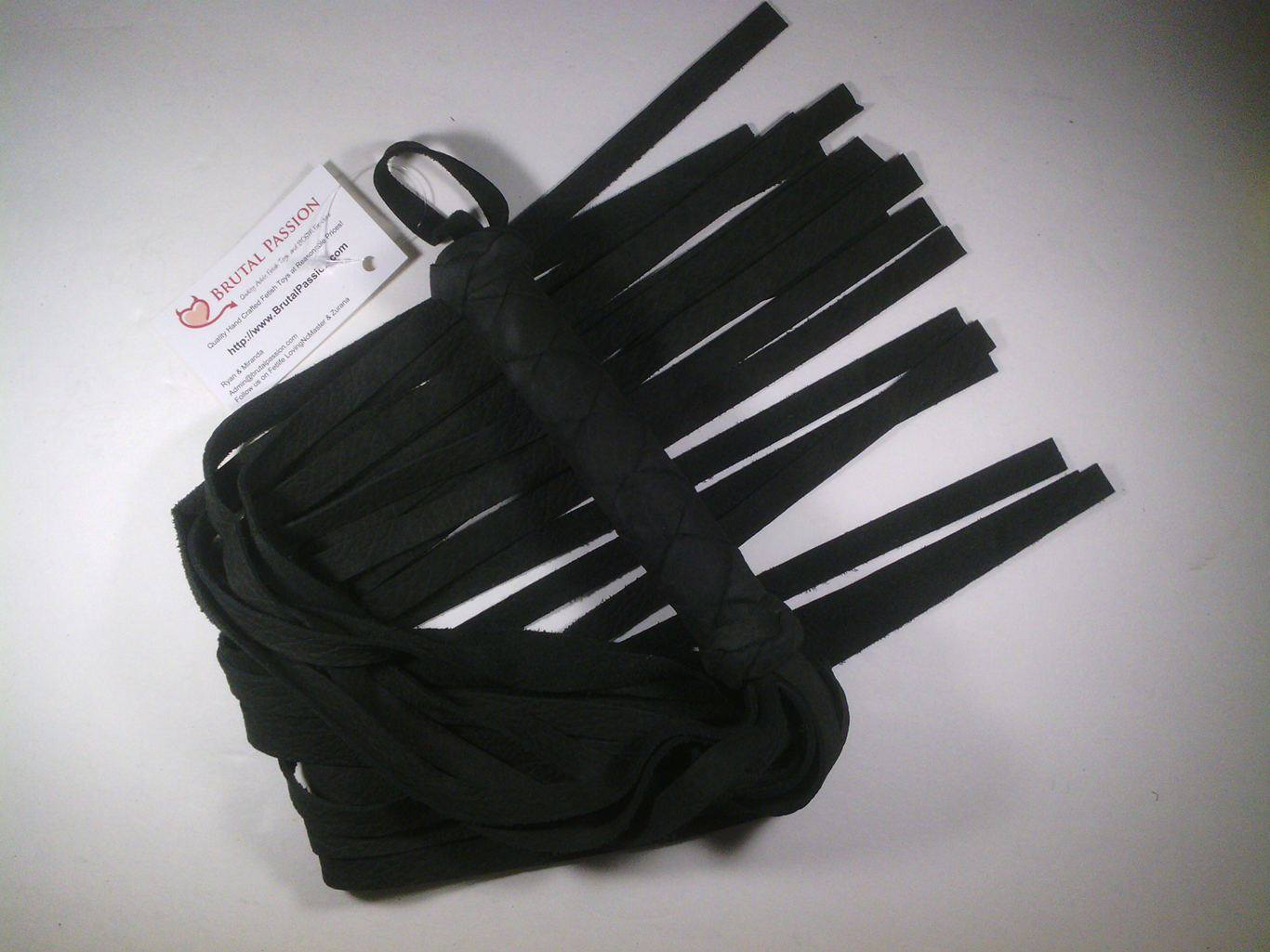UF Solid Black Long 24 Fall Leather Flogger