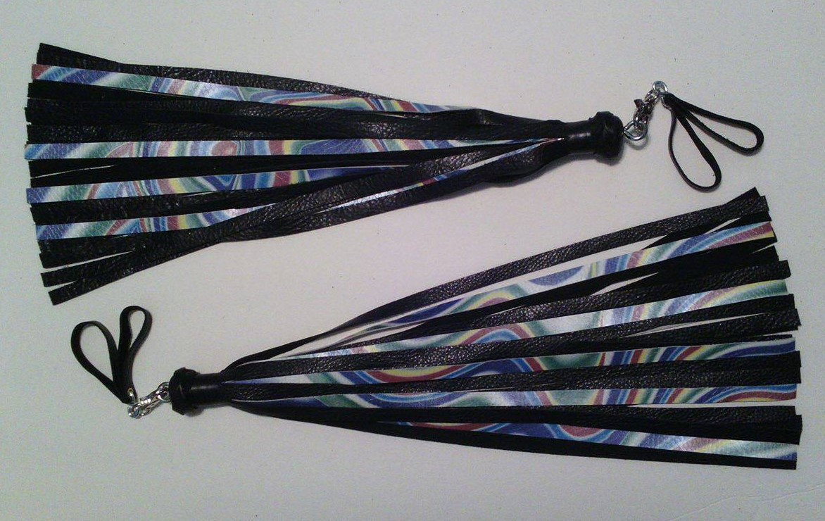 Custom rainbow finger floggers made for CIN